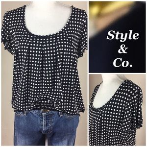 Style & Co.Polka Dot Short Sleeve Blouse Stretchy